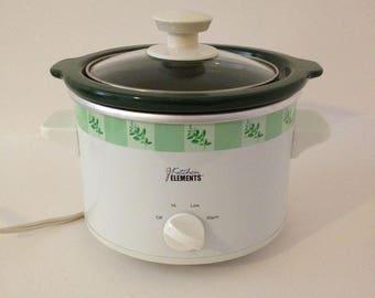 Small Kitchen Elements 1 1/2 Quart Electric Ceramic Slow Cooker Stoneware Crock Pot Server Removable Ceramic Pot Kitchen Serving Dish