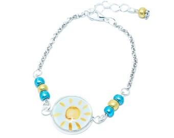 Bracelet cabochon child * pastel yellow Sun * yellow blue bead