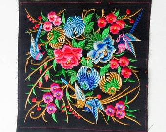 Birds and Flowers Embroidered, Hand Embroidered Hmong Fabric, Thai Hill Tribe, Hmong Textile, Hill Tribe Handmade.