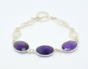 Faceted Oval Amethyst and sterling silver fancy link bracelet with T-bar fastening