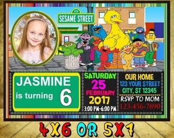Sesame Street Invitation, Sesame Street Birthday Invitation, Sesame Street, Sesame Street Birthday Card, Sesame Street invites, Sesame, Elmo