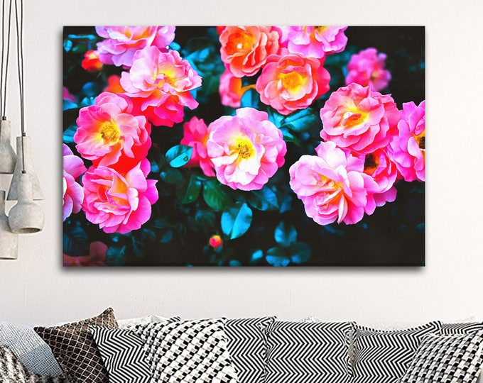 Pink Roses, beautiful canvas, flower, cute, canvas, Interior decor, room design, print poster, art picture, gift