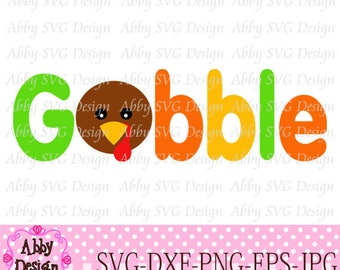 Thanksgiving Turkey Gobble Cut File svg,png,dxf and eps file for the Cutting Machines