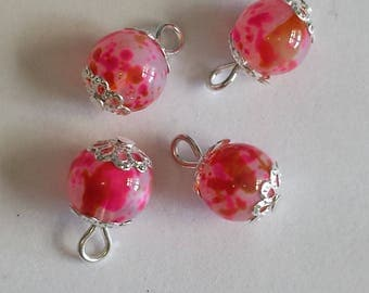 5 pendants 8mm pink/brown glass beads