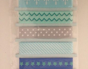 Lot 5 ribbons to design your new blue
