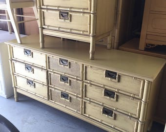 Faux Bamboo Dresser Media Console Chest Drawers  Regency Chinoiserie Boho Chic Campaign Mid Century