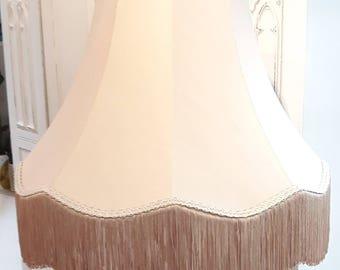 Large stylish coffee beige vintage standard lampshade with long fringe.