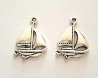 2 charms antique silver metal sailboat boats