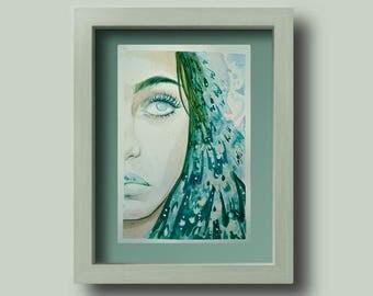 Green Mermaid Pattern Watercolour Original portrait of a woman // A5 Painting // Illustration