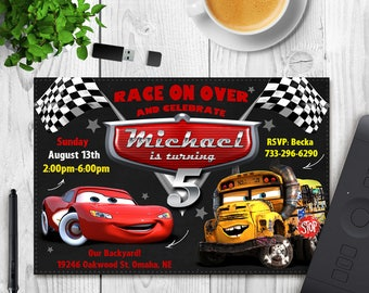 Cars 3 Invitation, Cars 3 Birthday, Cars Party Invite, Lightning Mcqueen Printables, New Cars Movie, Printable Invitations,Cars Race Invites