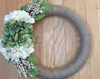 Rope Wreath with Hydrangeas and White Blossoms