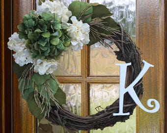 Monogram Grapevine Wreath with Green and White Hydrangeas, Wheat Stems, and Green Leaves//Fall Wreath//Front Door Wreath//Twig Wreath