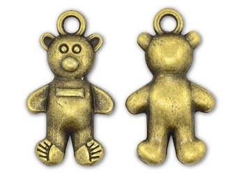 10, 20, or 50 Antique Bronze Teddy Bear Charms, Wholesale Charms, Bear Charms, Double Sided Charms, 3D Charms