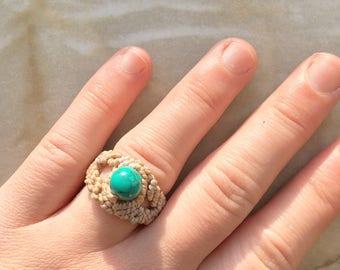 Gemstone Handmade Macrame Statement Ring, Boho Ring, Hippie Ring, Boho Chic, Wedding Ring, Festival Ring, Wedding Ring Gypsy Ring, Turquoise