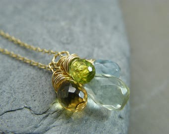 Gold filled gemstone necklace ~ Amethyst necklace for women ~ Citrine necklace ~ Green amethyst necklace ~ Peridot necklace ~ Spring time ~