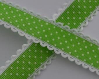 1 m green dot Ribbon white 25mm wide lace