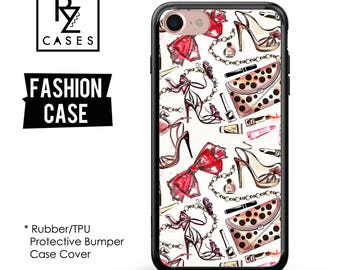Fashion Phone Case, Girly Phone Case, iPhone 7, Fashion illustration, Shoes, Lipstick, Bow, iphone 6, Gift for Her, Rubber, Bumper