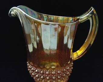 Vintage Imperial Carnival Glass Cane Pitcher Ca. 1921-1930s