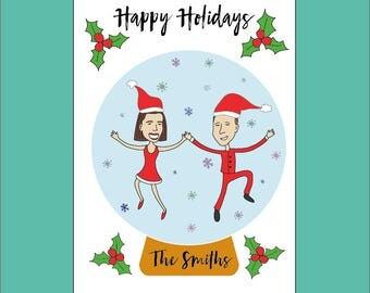 Personalised Holiday Cards - Cartoon Portrait Christmas Card - Family Christmas Card - Fun Couple Santa Card