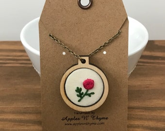 Mini Embroidery Hoop Pendant with Hand-embroidered Rose motif | Sold with 24-inch Antique Brass Necklace Chain
