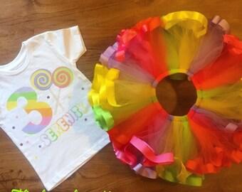 candyland ribbon trimmed tutu set