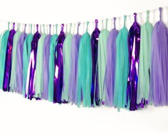 Mermaid Tassel Garlands, Purple Teal Paper Tissue Tassels, Mermaid Birthday Decor, Under the Sea Banner, Little Mermaid, Pre-Made, Backdrop