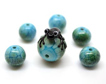 Frog beads set Lampwork frog