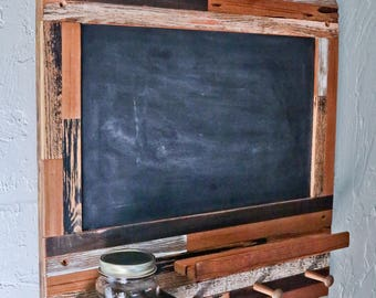 Rustic Pet Leash and Treat Holder with AWESOME Chalkboard! (Large)  / reclaimed wood / shabby chic / treat holder / leash holder