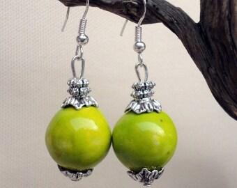 Apple green ceramic beads earrings