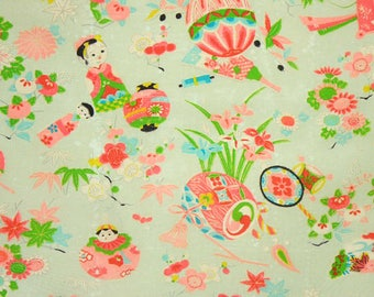 Vintage Japanese Silk Blend Fabric – Childrens Kimono Fabric, Made in Japan – Japanese Toys - Colorful Green Fabric – Unused Bolt