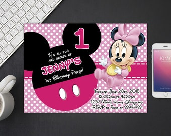 Minnie Mouse Invitation, Minnie Mouse Birthday, Minnie Mouse Invites, Minnie Mouse Party Printables, Minnie Mouse Custom