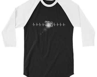 Photography Heartbeat Flashing Camera 3/4 Sleeve Raglan Baseball Shirt - Awesome Photographer Shirt - Camera Heartbeat Longsleeve