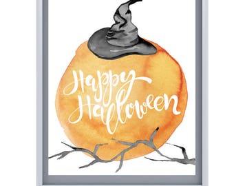 Halloween Watercolor 8x10 Prints, Set of FIVE+ Instant Download, Printable Decor Bundle, Halloween Art, 8x10 Digital Prints