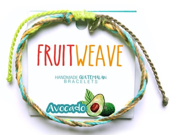 AVOCADO FEATHER BRACELET, Guatemalan Bracelets, Handmade bracelets, colorful bracelets, fruit based, fruit weave, friendship bracelets.