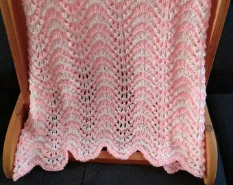 Pink and White Ripple Handknit Afghan