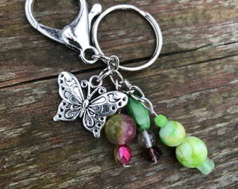 Bag Charm, Purse Charm, Beaded Keychain, Butterfly Charm, Handbag Charm, Keychain, Gift for Her, Handbag Zipper Charm, Green Beads
