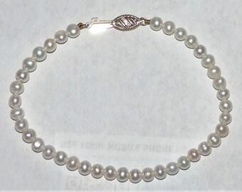 "Vintage Estate 14k Yellow Gold 4.5-5mm White Pearl Bracelet 5.75 Grams 7.5"""