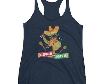 Cinco De Mayo Women's Racerback Tank // Drinko De Mayo Tank // Funny Mexican Holiday Fiesta Tank // Drinking Margarita Tank