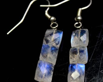 "Natural Rainbow Moonstone Baguette Faceted briolette  Steel Dangle Earrings  .8"" Inches , gemstones Size- 6X8 MM Approx"