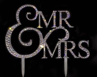 Swarovski® embellished cake topper Mr & Mrs wedding decor accessories gift bride bling diamanté rhinestone