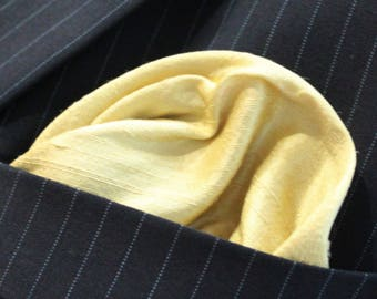 Silk Hankie Pocket Square Handkerchief 100% SILK DUPION Daffodil yellow. UK Made