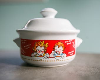 Vintage Campbell Ceramic Soup Bowl With Lid With Campbell's Soup Kids