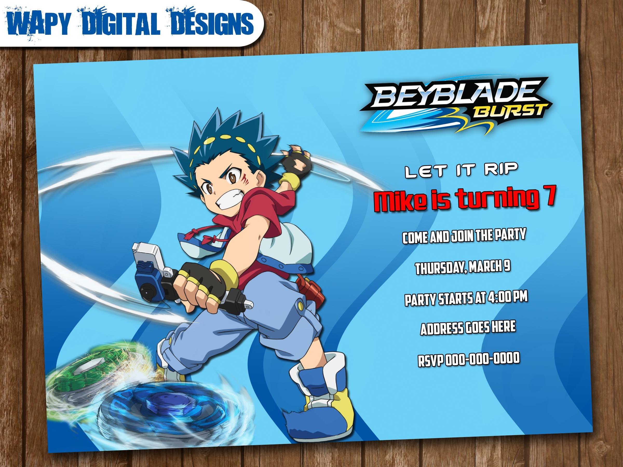 Beyblade Model 4 Digital Party invitation customize invite birthday ...