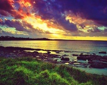Lake Michigan Sunset Serene and Peaceful Photograph Print 4x6, 4x4, 5x7, 8x8 8x10, 12x12, 11x14, 16x20