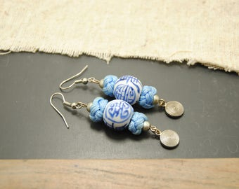Earrings * Japan * blue and white.