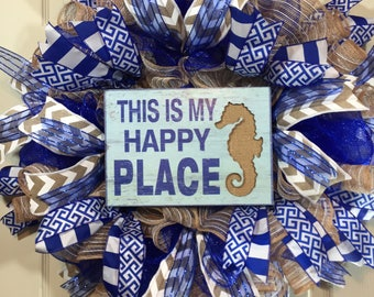 Front door wreath, summer wreath, happy place, seahorse, blue and burlap, everyday wreath