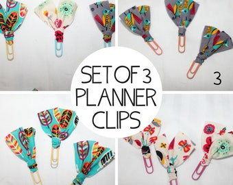 Set of THREE Planner Clips / Bible Journaling Clips / Fabric Clips / Fancy Paper Clips / Fabric Bookmarks / Fabric Page Marker