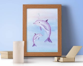 Dolphin Print, Dolphin Lover, Watercolour Style Dolphin Print, Dolphin, Animal Print, Animal Wall Art, Sea Creatures
