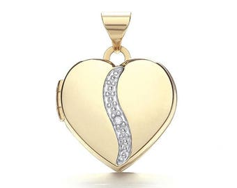 9ct Gold Single Diamond Small Heart 2 Photo Wave Locket 15x15mm