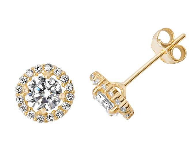 9ct Gold Cz Solitaire Halo Cluster Cz Stud Earrings 5mm 6mm 8mm